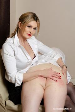 mistress-scarlet-spanking-slaves-bare-bottom